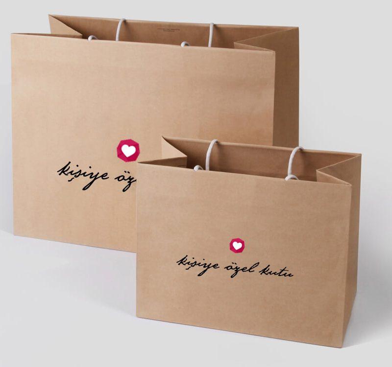 kraft karton çanta üretim baskı tasarım