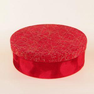kırmızı kumaş desenli yuvarlak kutu