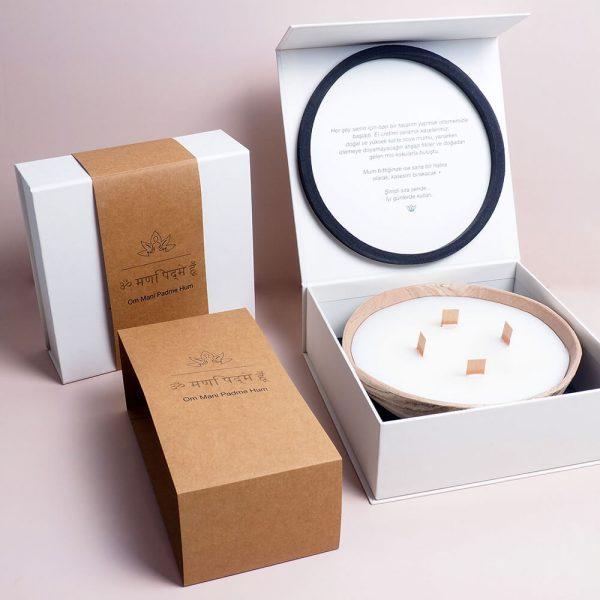 kraft sleeve ile kreatif mum kutusu tasarımı